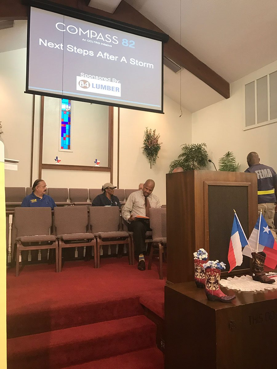 "Compass 82 spoke in Hitchcock, TX on ""Next Steps After A Storm"""