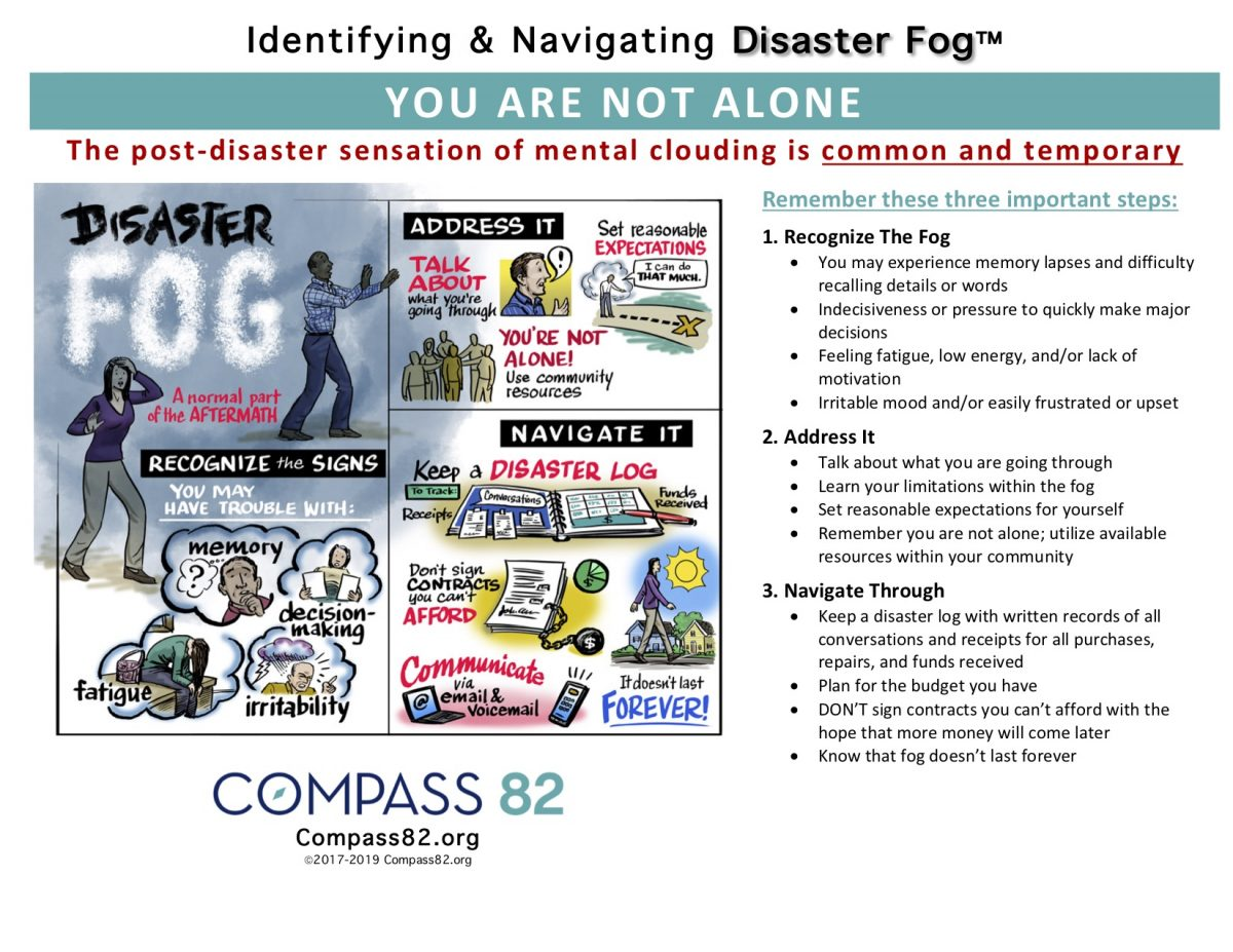 Tip Sheet titled Identifying & Navigation Disater Fog