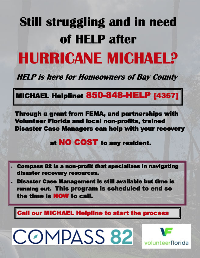 Trained Disaster Case Managers can help Bay County residents with Hurricane Disaster recovery at no cost!